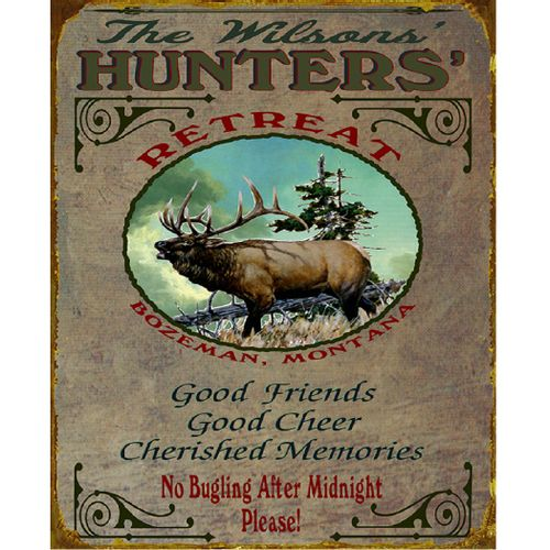 Hunters Retreat (Elk) Wood or Metal Personalized Sign