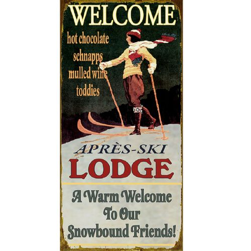 Vintage Style Ski Lodge Personalized Sign