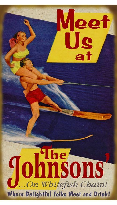 Meet Us Waterskiing Fun Retro Personalized Sign