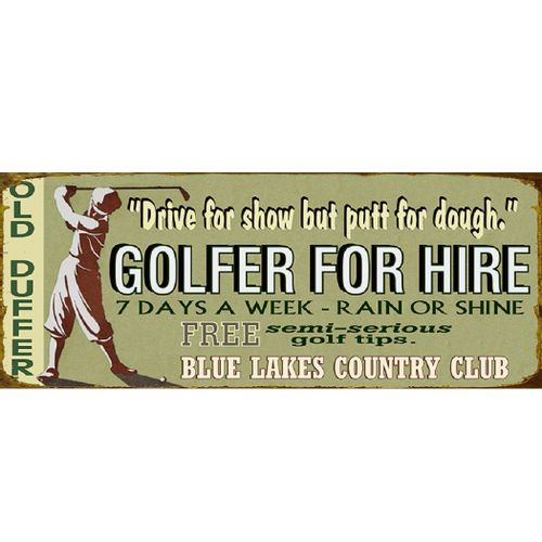 Golfer for Hire Personalized Golf Sign
