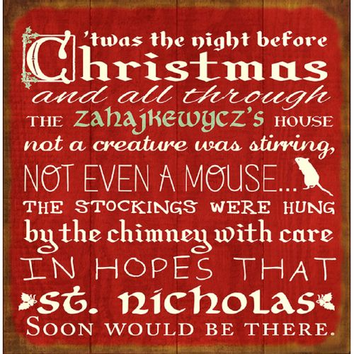 Night Before Christmas Personalized Wood Sign