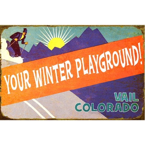 Retro Winter Playground Personalized Wood or Metal Sign