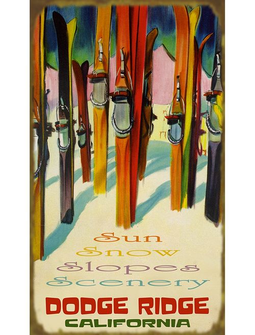 Colorful Skis Personalized Wood or Metal Sign