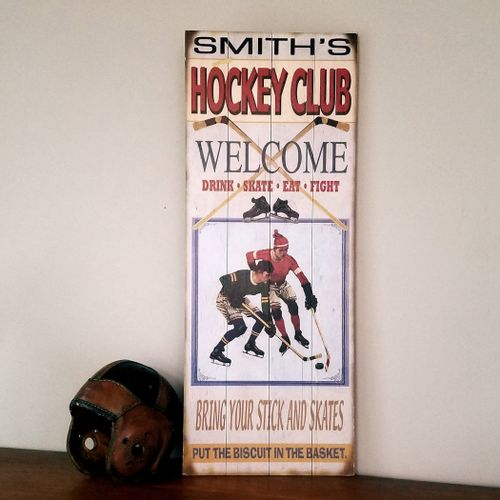 Ice Hockey Club Personalized Retro Style Sign