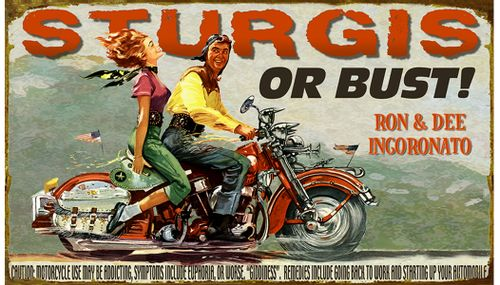 Sturgis or Bust Personalized Retro Motorcycle Sign