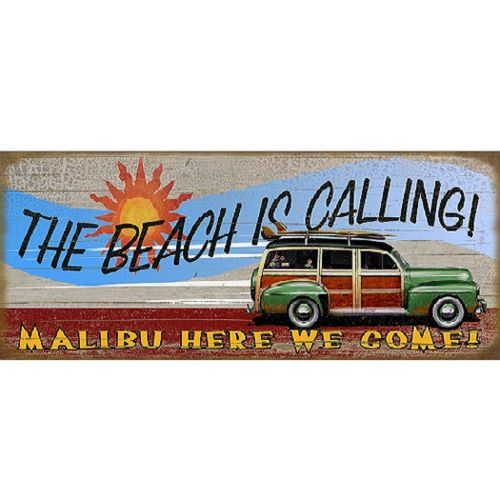 The Beach is Calling Personalized Wood or Metal Sign