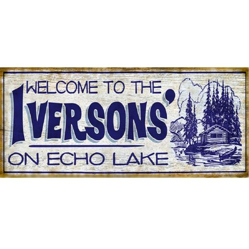 Retro Family Cabin Personalized Welcome Sign