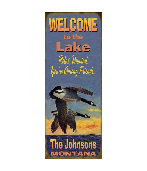 Welcome to the Lake Flying Geese Personalized Cabin Sign