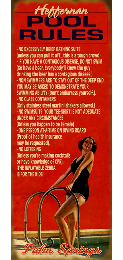 Pool Rules (Woman) Funny Personalized Sign