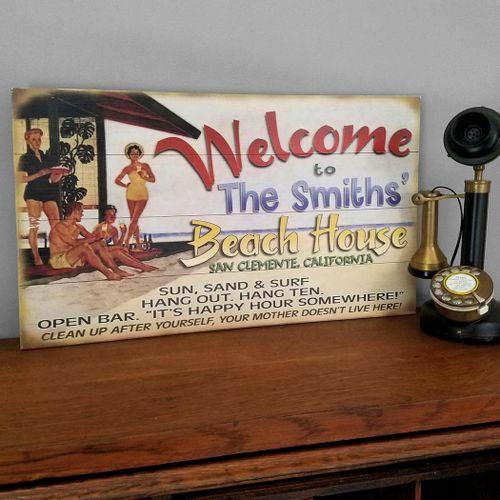 Retro Welcome to the Beach House Funny Personalized Sign