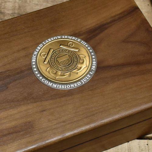 Coast Guard Commemorative Keepsake Box with Brass Medallion