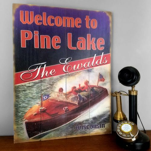 Vintage Boat Personalized Lake Cabin Sign