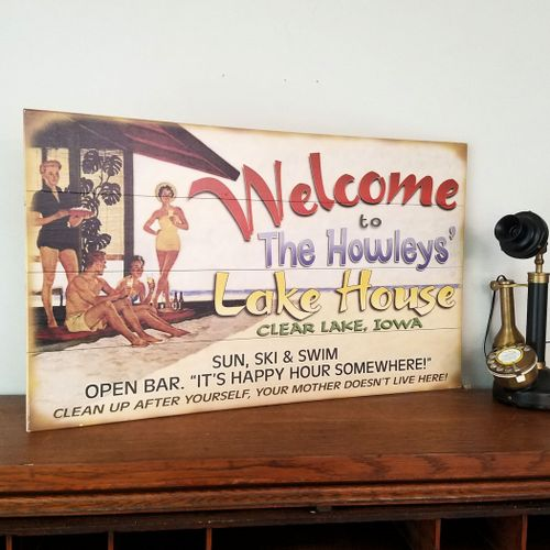 Welcome to the Lake House Funny Retro Personalized Sign