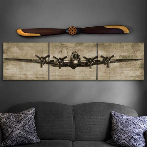 B-17 Sepia Wood Triptych