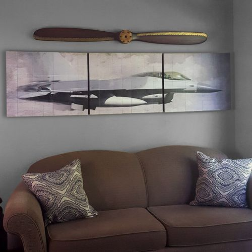 F-16 Fighter Wooden Triptych