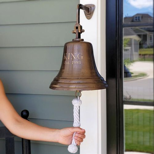 Pre-Order 10 Inch Brass Engravable Wall Bell - Distressed