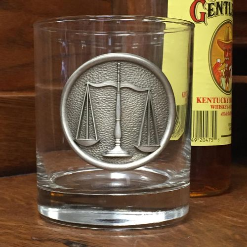 Scales Of Justice Double Old Fashioned Glass