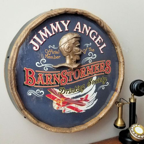 Barnstormers Drinking Society Personalized Barrel End Sign