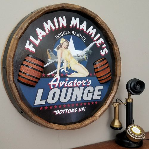 Aviator's Lounge Personalized Wood Barrel End Sign