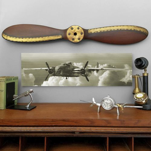 B-25 Bomber Fly By Wood Sign