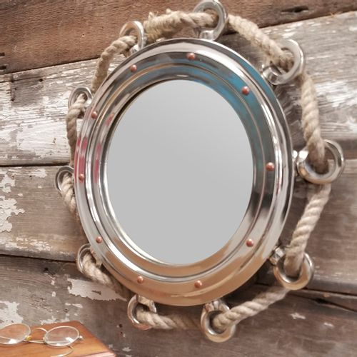 15 Inch Porthole Mirror With Rope
