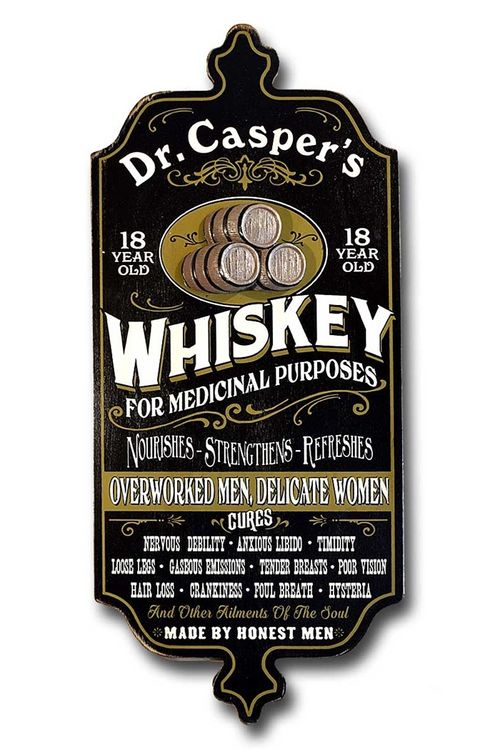 Medicinal Whiskey Personalized Bar Sign