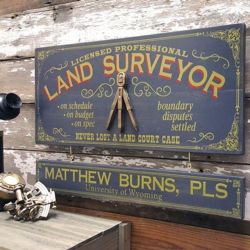 Land Surveyor Wood Sign with Optional Personalization