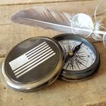 Brass-Compass-With-American-Flag-11423