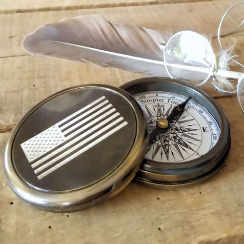 Brass Compass With American Flag
