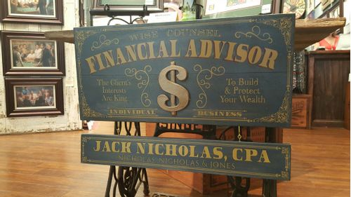 Financial Advisor Wood Sign with Optional Personalization