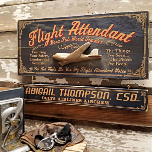 Flight Attendant Wood Sign with Optional Personalization