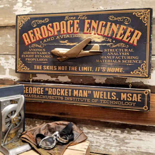 Aerospace Engineer Wood Sign with Optional Personalization