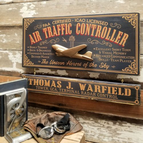 Air Traffic Controller Wood Sign with Optional Personalization