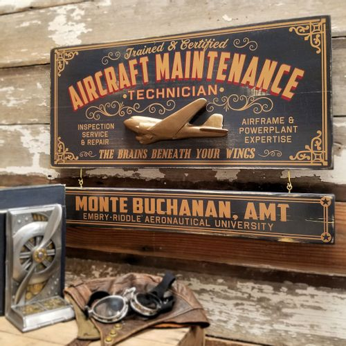 Aircraft Maintenance Technician Wood Sign with Optional Personalization