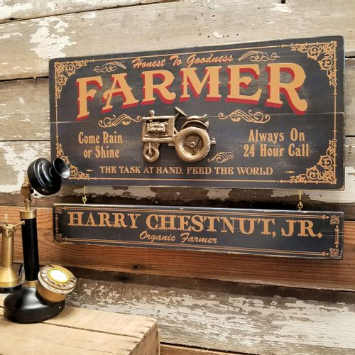 Farmer Wood Sign with Optional Personalization