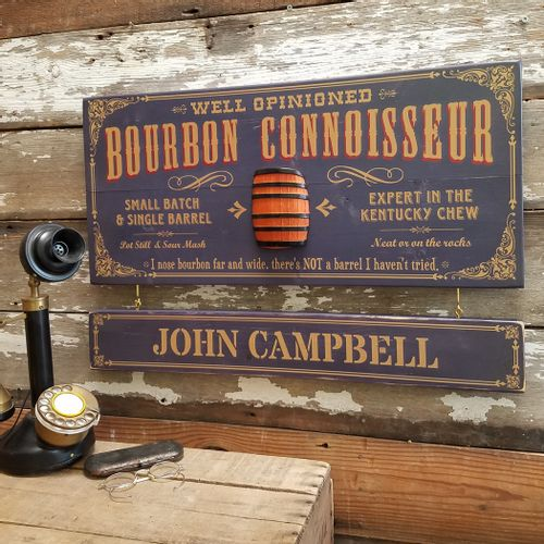 Bourbon Connoisseur Sign with Optional Personalization