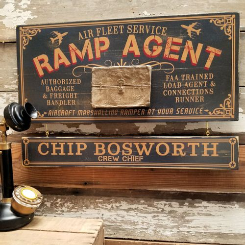 Ramp Agent Wood Sign with Optional Personalization