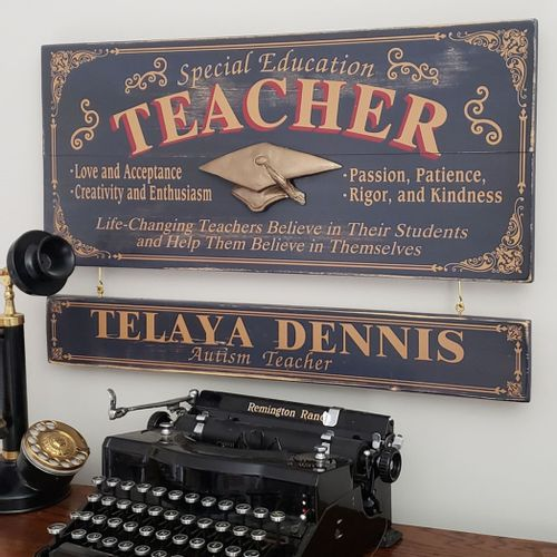 Special Education Teacher Wood Sign with Optional Nameboard