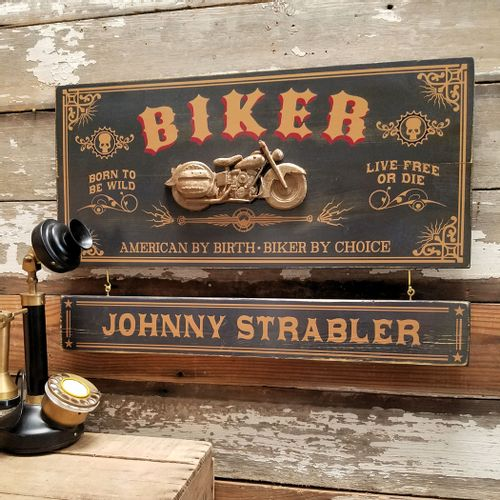 Biker Wood Sign with Optional Personalization