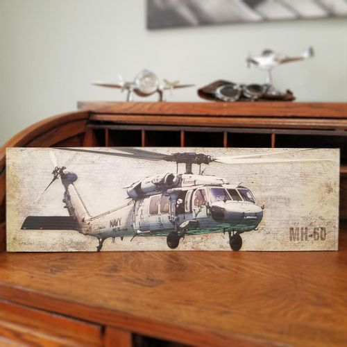 Navy MH-60 Helicopter Plank Sign