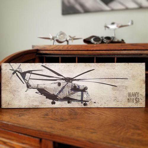 Navy MH-53 Helicopter Plank Sign