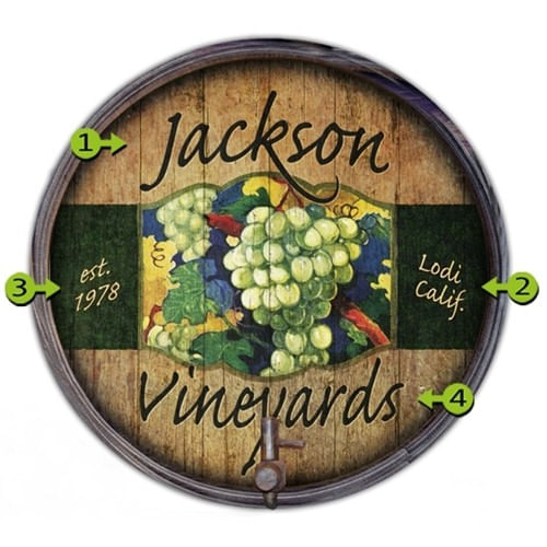 White Grapes Personalized Barrel End Sign
