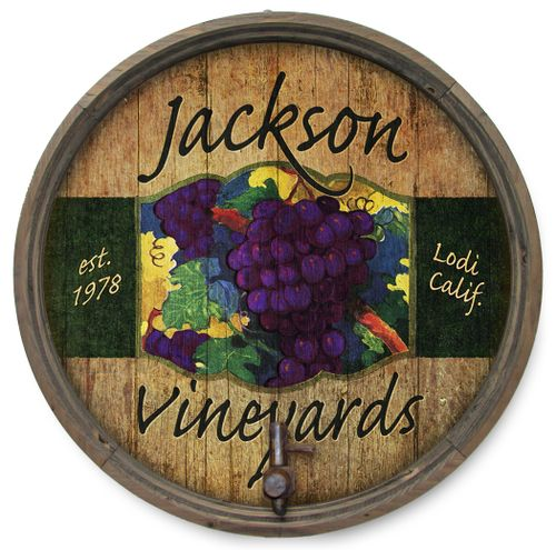 Personalized Red Grapes Barrel End with Spigot