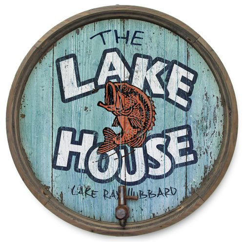 The Lake House Personalized Barrel End Sign