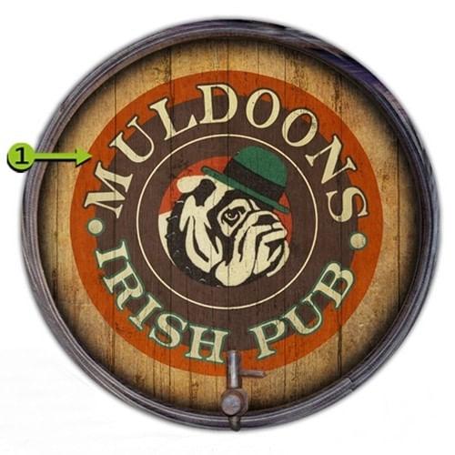 Personalized Bulldog Irish Pub Retro Barrel End Sign