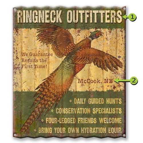 Personalized Pheasant Outfitters Corrugated Metal Sign