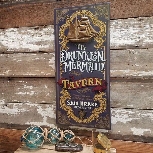 Drunken Mermaid Personalized Wood Sign