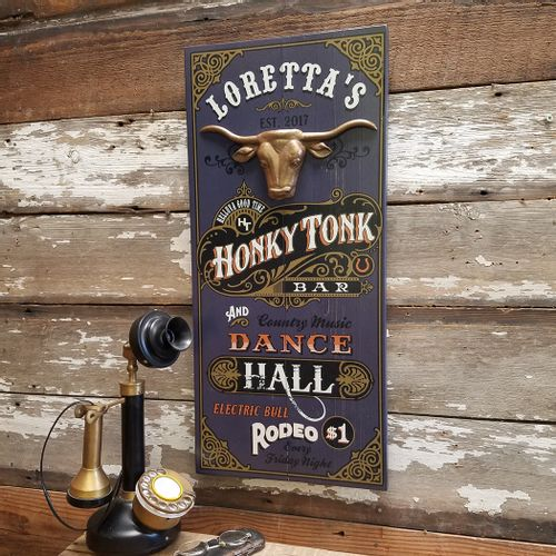 Honky Tonk Bar Personalized Wood Sign