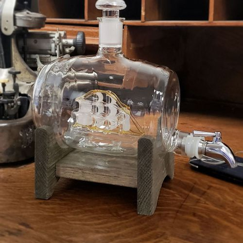 Sailboat Artisan Glass Decanter