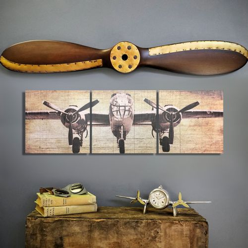 B-25 Bomber Plane Triptych and Propeller Set